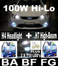 100W Xenon WHITE Headlight HI  Lo Fog Light Bulbs Globes BA BF FG XR6 XR8 G6E
