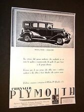 Pubblicità Epoca per collezionisti Automobile Sedan 4 porte Chrysler + Rim Murri