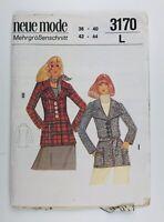 "Vintage 1970's Sewing Pattern Neue Mode 3170 Princess Seam Jacket Bust 34 """