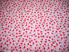 1930s Reproduction Fabric By The Yard Bright Pink Grn Floral on White Cotton #PC