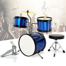 3 Piece Junior Drum Kit Set with Cymbal,Stool,Sticks for Kids Children Blue