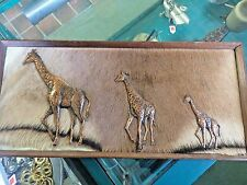 Framed Giraffe Pelt with Solid Copper Giraffes