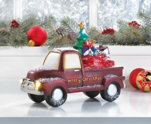 Old Time Red Truck Delivering Toys w/ Light Up LED Headlights & Merry Christmas