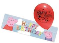 Peppa Pig Foil Banner & Pack of 5 Latex Balloons - Party Decorations
