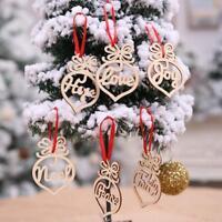 6pcs/set Merry Christmas Wooden Hollow Ornament Xmas Tree Hanging Pendant Decor