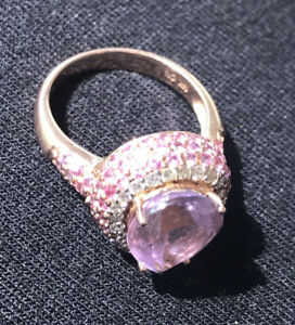 Le Vian 14K Pink Amethyst , Pink Sapphire and Diamond Ring Sz 7 Strawberry Gold