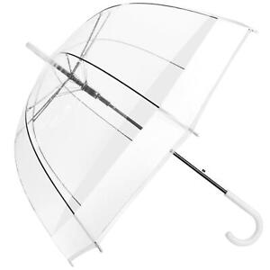 "Large 22"" Clear See Through Dome Umbrella Ladies Transparent White Rain Brolly"