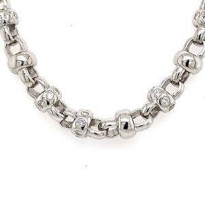"14k White Gold 9.00 CT Diamond Fancy Men's Chain, 26"", 121.5gm, S106204"