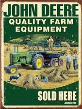 JOHN DEERE Quality Farm Equipment Sold Here Tractor Retro Vintage Sign 9x12