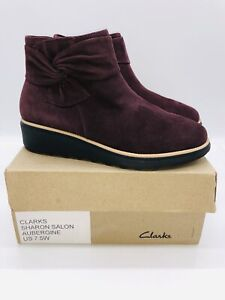 Clarks Collection Women's Sharon Salon Suede Bow Ankle Boots Aubergine US 7.5W