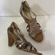 Seychelles Champagne Silver Twisted Leather Strap Ankle Zip Sandals Heels 7.5