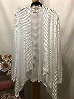 New! Large LOGO Lori Goldstein White Ribbed Modal Cotton Open Front Tunic Top L