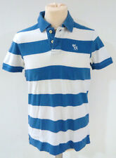 Polo bianca e blu ABERCROMBIE & FITCH Small S Muscle 100% cotone