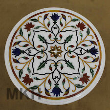 Italian Mosaic Pietra Dura Round Coffee Table White Marble Vintage Antique