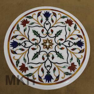 Italian Mosaic Pietra Dura Round Coffee Table White Marble Vintage Antique