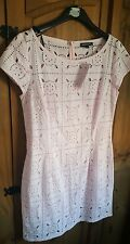 warehouse dress size 12 bnwt broderie anglais baby pink rrp£60