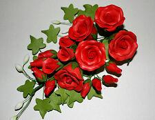 GRANDE Red Tea Rose SPRAY, FIORI di zucchero, cake topper, Gum pasta, pasta di zucchero