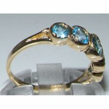9ct Yellow Gold Ladies Blue Topaz Eternity Band Ring