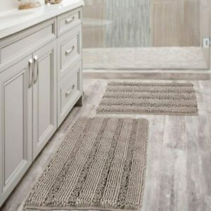 Extra Thick Chenille Striped Pattern Bath Rugs for Bathroom Non Slip - Soft Plus