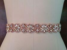 """Wedding Belt, Bridal Sash Belt - ROSE GOLD Crystal Sash Belt = 19"""" long"""