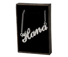 """Name Necklace """"HANA"""" - 18ct White Gold Plated - Made With Swarovski Elements"""