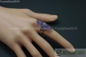 Natural Gemstones Hexagonal Pointed Reiki Chakra Beads Adjustable Ring Healing