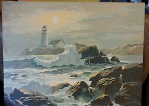 Vintage Paint by Number Lighthouse Rugged Coast Nautical Seascape Large 16X20
