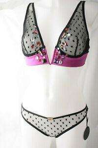 Damaris ~ CHIACCHIERE ~ plunge bra corset knicker set BNWT black UK 10 designer