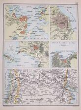 1894 MAP LIMA VALPARAISO RIO CITY PLAN BUENOS AYRES ARGENTINE REPUBLIC PAMPAS