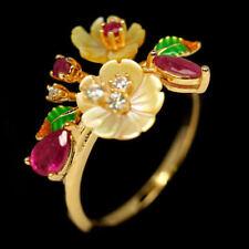 925 Sterling Silber Ring Gelbgold beschichtet, Rubin & Perlmutter Blumen, Neu