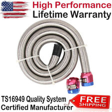 3/8 inch 3ft Braided Stainless Steel Hoses Fuel Lines With Red/Blue Clamp Covers