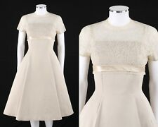 Vtg Jonathan Logan c.1950's Beige Silk Lace Illusion Top Cocktail Party Dress
