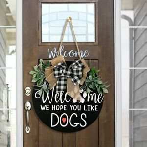 Welcome Sign Wreath Front Door with Bow 11 Inch Hanging Vertical Sign Home Decor