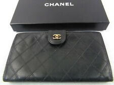 WOW!!! US SELLER Authentic CHANEL LONG WALLET COCO BLACK STITCH LEATHER FRANCE
