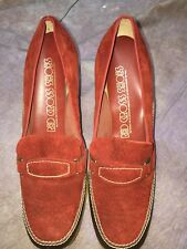 Sej Vintage Rockabilly Granny Red Suede Shoes 7.5 B Red Cross Euc