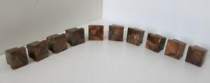 10 VINTAGE ART DECO BAKELITE SQUARE KNOBS SET CUPBOARD CELLULOID HANDLES 1920'S