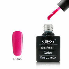 DC020 Bluesky Salon Nail Polish UV GEL Glaze Neon Magenta Silver Bling