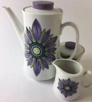 Retro Hovea by Tiffany Australia Coffee Pot Sugar & Creamer White Purple Green