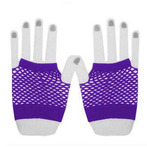 Neon Fingerless Fishnet Wrist Gloves Assorted Colors 80s Costume Props Halloween