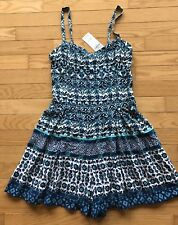 NWT HOLLISTER Blue Print Romper Adjustable Straps Soft Shorts SMALL
