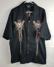 Iron Horse Mens Large Embroidered Black Short Sleeve Mechanic Biker Shirt