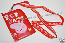 PEPPA PIG RED LANYARD CASE POUCH PIN HOLDER/Wallet coin BAG purse PASS HOLDER