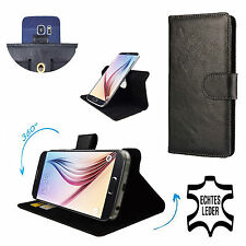 Genuine Leather Phone Wallet Case For Galaxy Note 3 N9005 LTE - 360 Black L