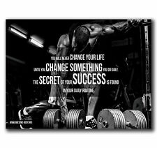 W256 Art Motivational GYM Body Building Quotes Exercise Pop Poster Hot Gift