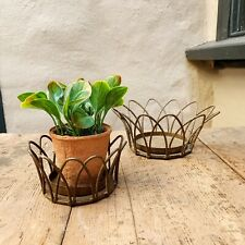 Rust Wire Crown Basket, Plant Pot or Candle Surround, Rustic Cage Planter