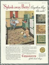 1933 CONGOLEUM RUGS advertisement, modern flooring, 1930s kitchen