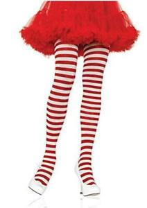 Leg Avenue Women's Nylon Striped Tights, White/red,, White/Red, Size One Size
