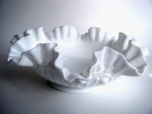 """Fenton Rose Pattern Milk Glass Ruffled Footed Bowl Candy Dish 9.5"""" Wide"""