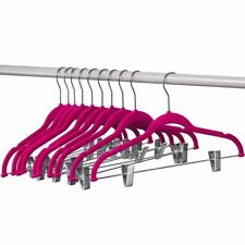 Clothes Hangers with clips PINK Velvet Hangers, Use for Skirt/pants Hangers 10PK
