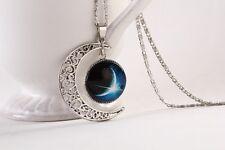 Magic Star Moon Moonstone Constellation Crescent Pendant Necklace N14_#10